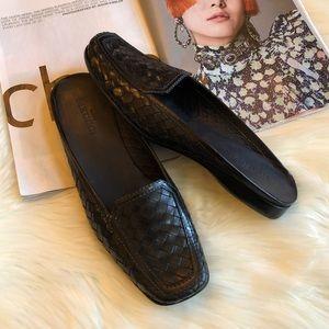 Sesto Meucci Black Woven Leather Mules Slides 11M